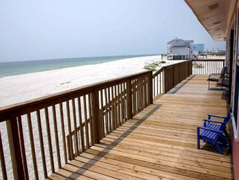 Deck on beach at Isle Call - Gulf Shores Beach House for Rent
